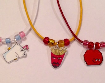 Aqua Teen Hunger Force Necklace, Frylock, Master Shake, Meatwad, Adult Swim