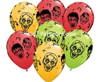 """7ct ZOMBIE 11"""" LATEX BALLOONS Zombies Halloween birthday party decorations supplies centerpiece photo prop"""