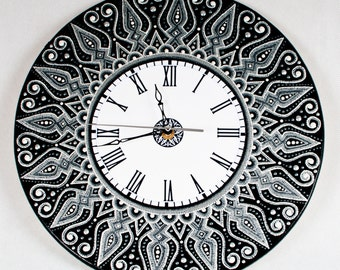 clock, Watch with a list, painted clock, Wall Clock, wooden clock