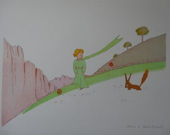 Antoine de Saint Exupéry: The little Prince and the Fox, signed lithograph