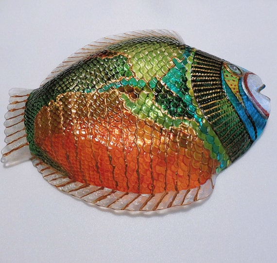 Hand painted glass painted decorative plate fish glass for Painted glass fish