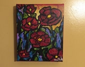 Bright Poppies, 8x10 acrylic canvas by Ana Peralta