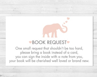 Bring A Book Instead Of A Card, Baby Shower, Pink And Grey, Bring A Book Insert, Elephant Book Request, Instant Download