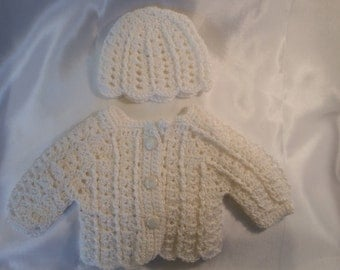 """18"""" doll sweater and hat set- shimmery soft white"""