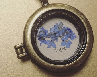 Pressed Forget-Me-Not Remembrance Necklace; Sympathy Gift;