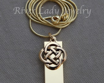 Celtic Knot 8GB, 16GB or 32GB USB Drive Necklace with Gold Plated Chain