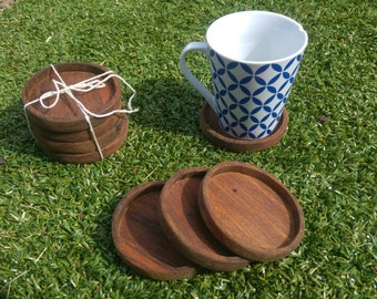 Handmade wooden coasters (set of 4)