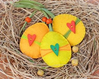 Felt decorations_Set of 3_Heart ornaments_Red yellow green_Easter eggs_Felt eggs_Easter decorations_Easter felt eggs_Easter gift_Eco decor