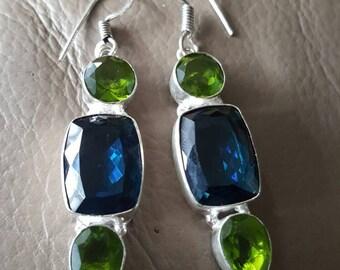 Blue Quartz and Peridot Earrings!