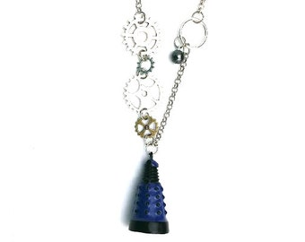"Blue Dalek Doctor Who Inspired Beaded Charm 23"" Chain Necklace Silver Tone"