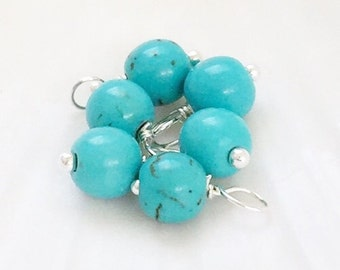 Turquoise dangle beads, turquoise dangle, gemstone dangle charms, gemstone dangles, dangle beads, bead charms, dangles, beaded dangles, 10pc