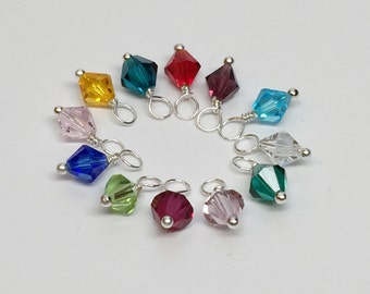 Birthstone dangle charms, swarovski crystal birthstone dangle, crystal birthstone charms, birthstone dangle beads, birthstone dangles