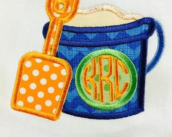 Personalized Sand Bucket and Shovel Monogram Embroidered and Appliqué Shirt or Bodysuit