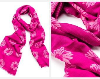 Pink Fuchsia Flower Pattern Scarf Sarong Wrap Beachwear