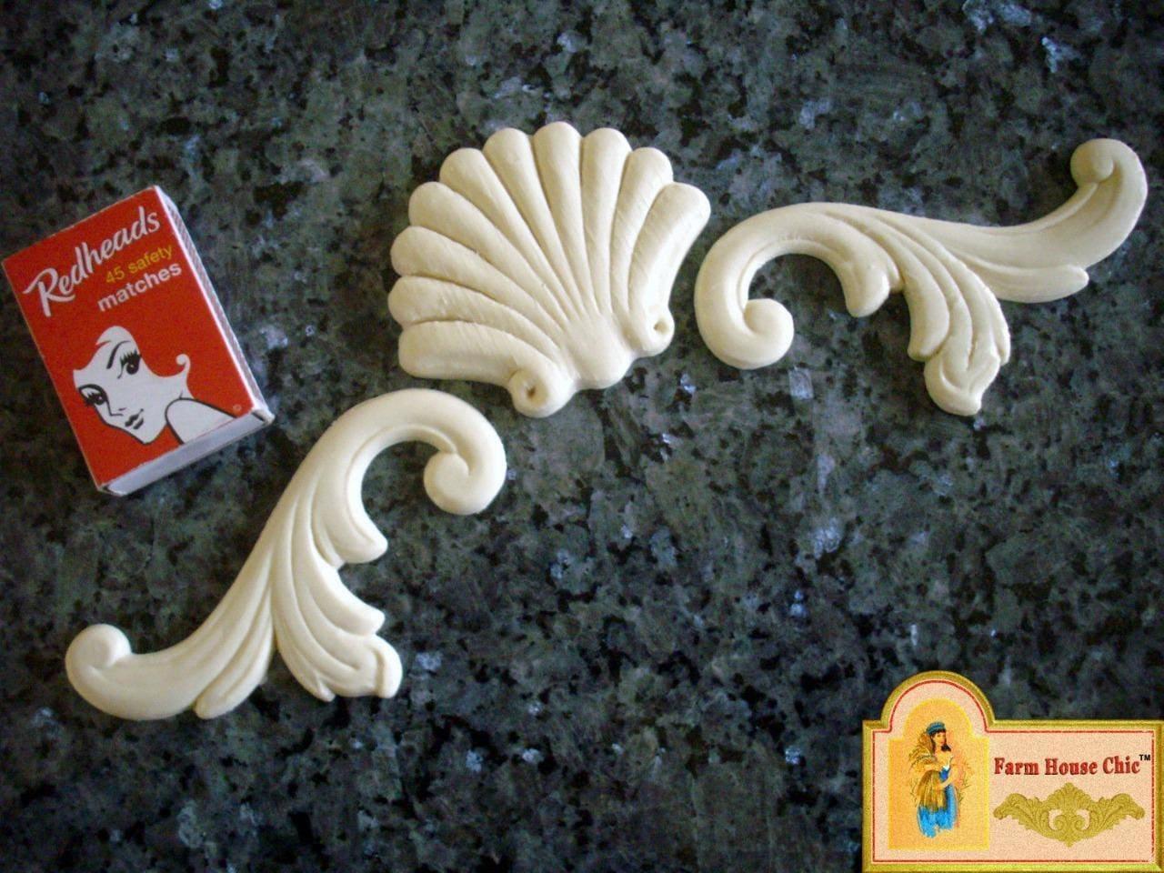 3 piece set sea shell 2 x matching scrolls french
