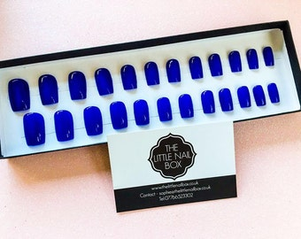 Hand painted Royal blue square stick on/ press on/ fake/ false/ express nails