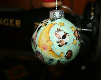 Hey Diddle Diddle Fabric Decoupage  Glass  Ornament