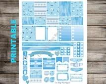 PRINTABLE for Erin Condren - Blue Penguin Weekly Planner Sticker Kit for Vertical Life Planner Winter November January Snow Ice