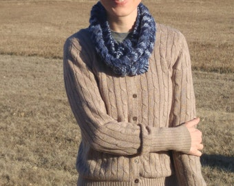 Varigated Blue Cable Scarf