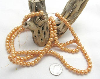 "1 Strand (32"") Round Glass Pearl Beads 6mm - Orange Sherbert (B68a)"