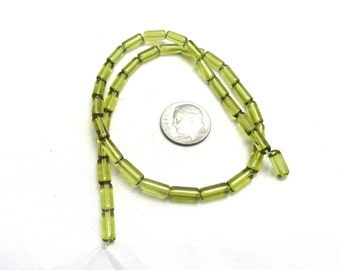1 Strand Tube Glass Beads Yellow-Green 4mm x 10mm (B96f6)