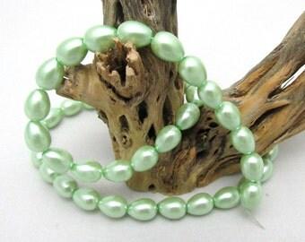 1 Strand Teardrop Glass Pearl Beads 9 x 6mm Mint Green (B26i)