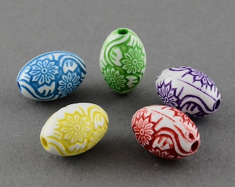 25 Assorted Color Acrylic Flower Pattern Oval Beads (B3g/s2b)