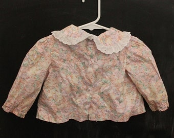 Flowered girls blouse, 12 month