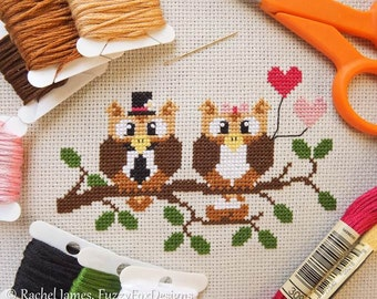Cute Owl Family Cross Stitch Pattern PDF | Easy | Modern | Beginners Counted Cross Stitch | Instant Download