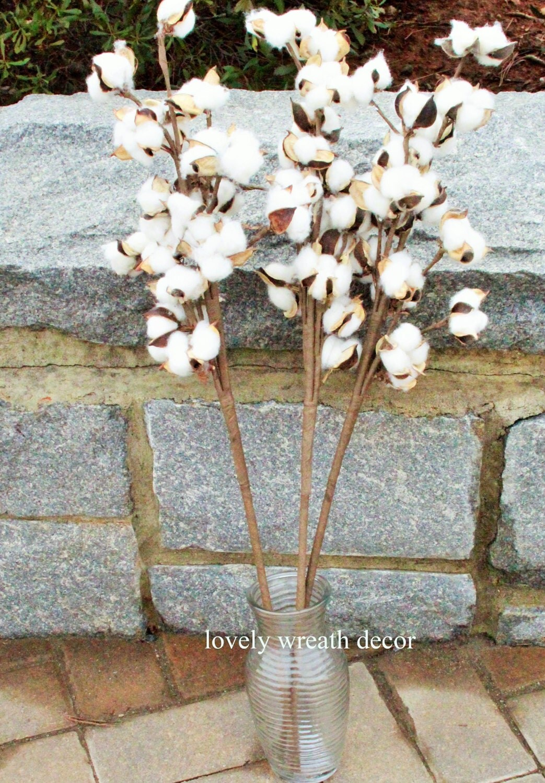 5 cotton boll branches cotton boll stalks faux cotton boll. Black Bedroom Furniture Sets. Home Design Ideas