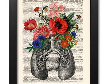 Anatomical lungs and flowers, Anatomical lungs print, Flower lungs, Flower print, Illustration print, Dictionary art, Gift print [ART 040]