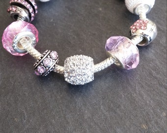 Charm bracelets, pink, Rhinestones, pendants