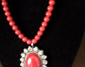 Red Beaded Indian Neclace with Pendant