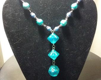 Blue galaxy dice necklace