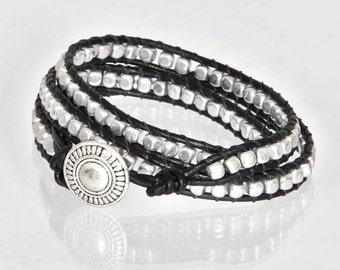 Silver Bracelet in Chan Luu Style Black Leather Bracelets Silver Leather Bracelet Wrap