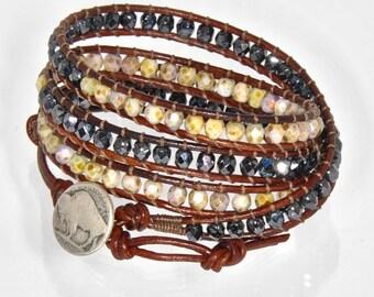Western Chan Luu Wrap, Earthy Leather Beaded Wrap, Womens Leather Bracelets, Earthy Bead Wrap Bracelet, 4x Wrap Bracelets, SALE