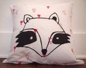 Cushion cover with Hand screen-printed illustration / Cushion cover printed in serigraphy