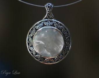 Full Moon Mother of Pearl Pendant (Sterling Silver 925) PP006