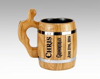 Personalized Groomsmen gift, Wooden Beer Mug 22oz, Groomsman Mug Personalized Best Man Gift Grooms Gift,Wedding Tankard Personalized Barware