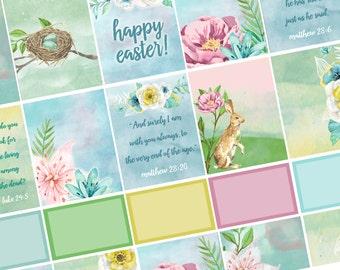 He is Risen / Easter Printable Planner Stickers/ Erin Condren Vertical / Spring Watercolor / Instant Download