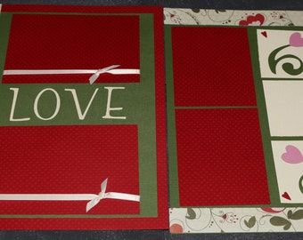12X12 Scrapbook page, Love, double page layout, wedding gift, red, green, swirls, flowers, hearts, ribbon