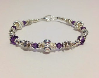 Purple Swarovski Crystal and Silver Beaded Bracelet