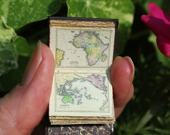 Miniature 12th scale atlas: Handmade leather miniature book of antique maps and cartography, a dollhouse miniature or gift for travelers