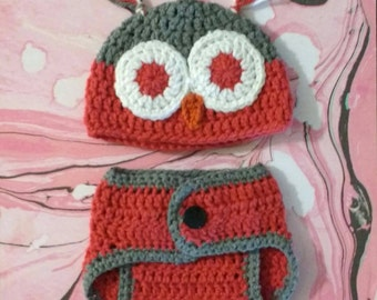Crochet Owl Diaper Cover and Hat Set