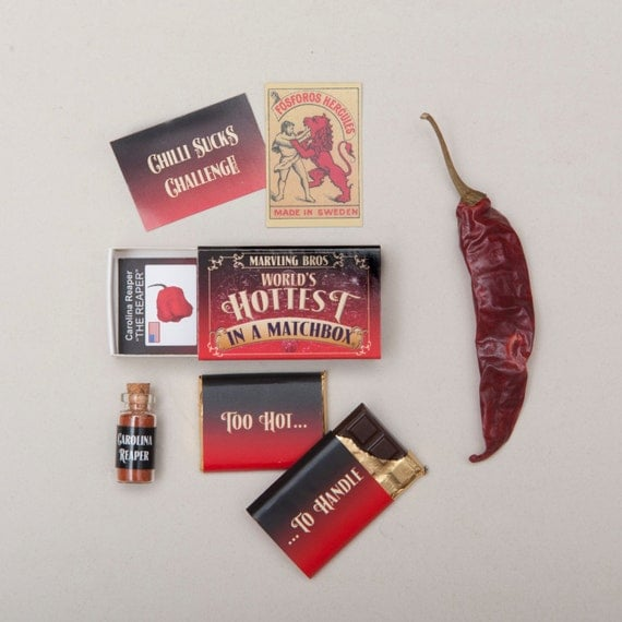 Carolina Reaper And Chilli Chocolate In A Matchbox