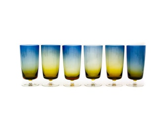 Set of Six Bluerina Tall Tumbler Drinking Glasses