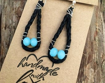 Blue beaded leather earrings