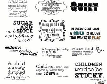 Children Wordart- 12 Wordart- Brush- Digital Stamp