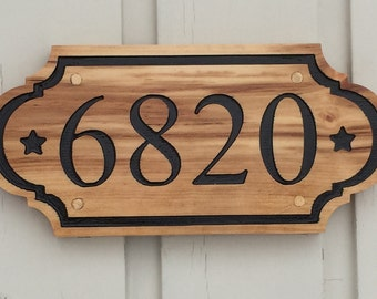 Elegant and classic house number engraved plate made in real wood