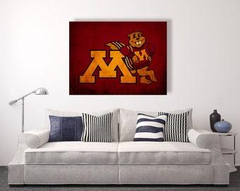 Minnesota Golden Gophers vintage style Canvas Print, University of Minnesota,college football logos, apartment decorating ideas, gophers,umn